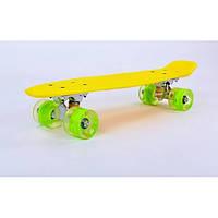 Скейт Zelart 5672-1 Original LED желтый (0077)