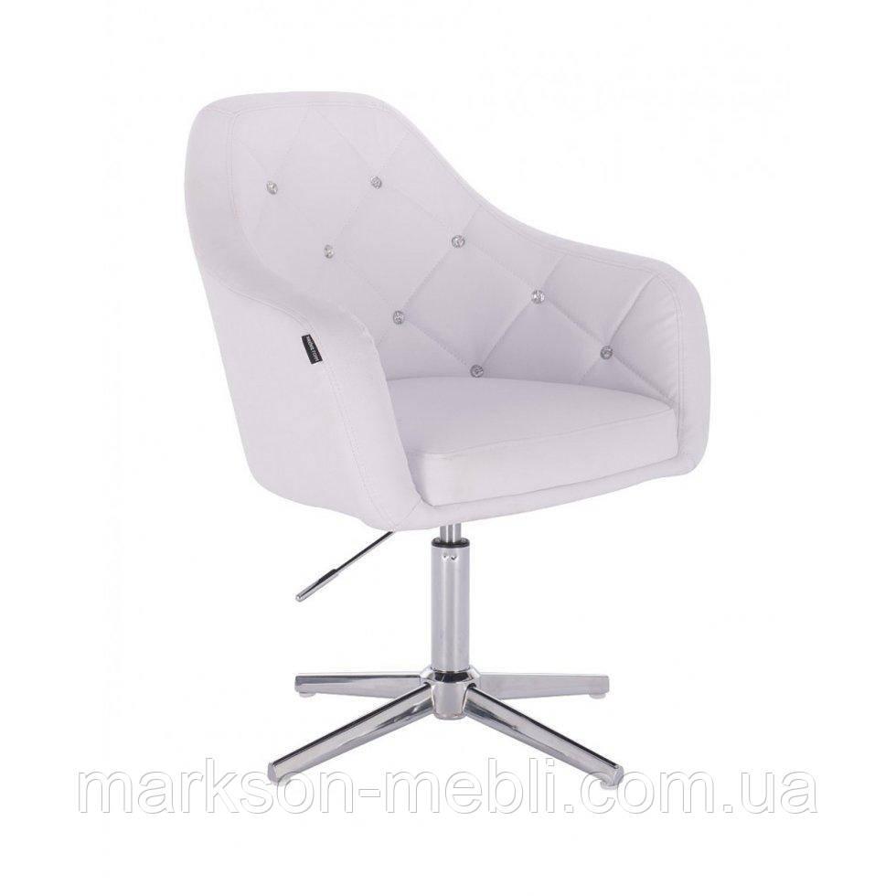 Перукарське крісло HROVE FORM HR830CROSS білий кожзам хрестовина хром