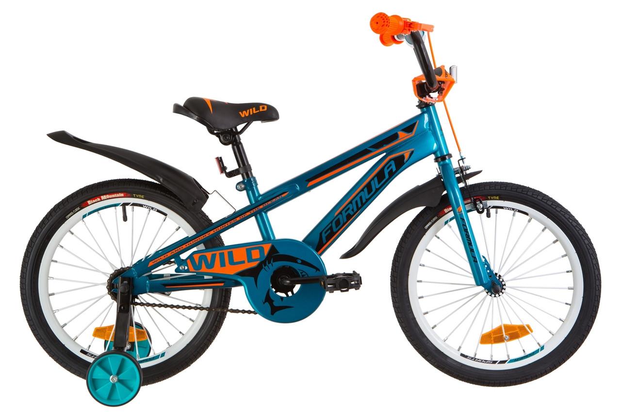 """Велосипед 18"""" Formula WILD усилен. St с крылом Pl 2019 (бирюзовый с оранжевым)"""
