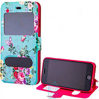 Чехол-книжка Flower Case 2 окна Huawei P9 Lite Tea-rose turquoise