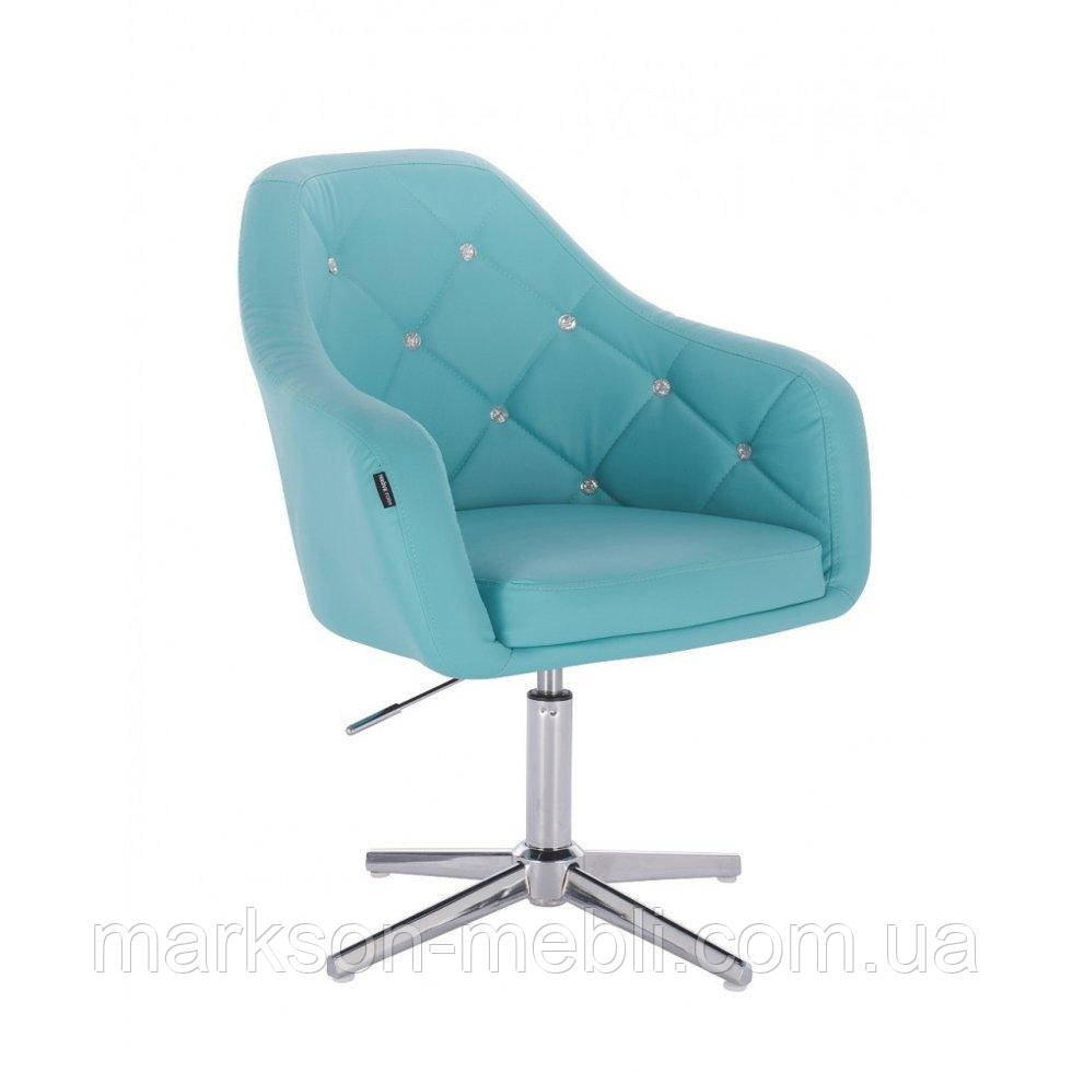 Перукарське крісло HROVE FORM HR830CROSS бірюза кожзам хрестовина хром