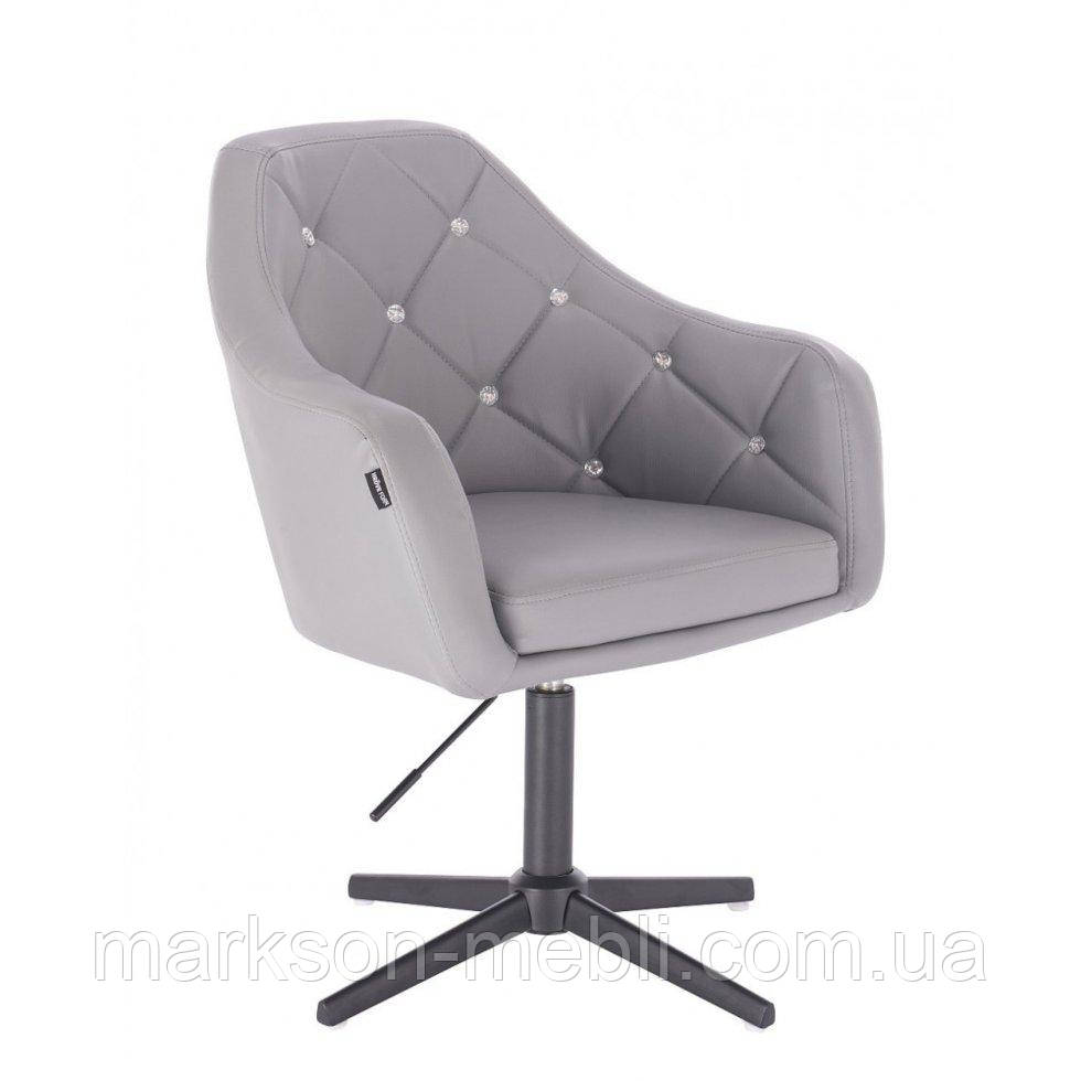 Перукарське крісло HROVE FORM HR830CROSS сірий кожзам хрестовина чорна матова