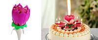 """Музыкальная свеча """"Лотос"""" для торта, свеча карусель (большая), ОПТОМ"""