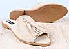 Шлепанцы женские бежевые замшевые с кисточками