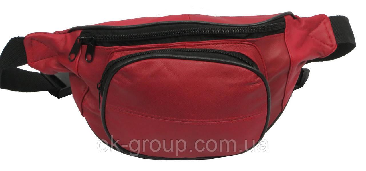 Кожаная поясная сумка Cavaldi 903-353 red, красный