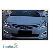 Дневные ходовые огни LED-DRL LED1373 для Hyundai Accent 2015+ (2 x 9 LED)