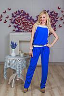 Костюм женский с брюками шифон синий, фото 1