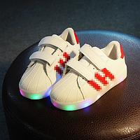 Кроссовки детские с LEG подсветкой красные полоски