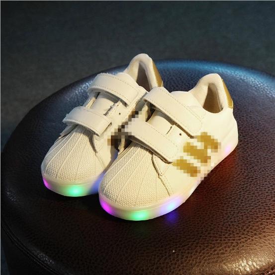 c48f2eea Кроссовки детские с LEG подсветкой золотые полоски - ПП