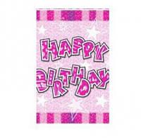 Скатерть праздничная розовая Happy birthday