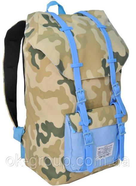 """Рюкзак для ноутбука 15,6"""" Paso CM-192B камуфляж/голубой 25 л"""