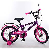 Детский двухколесный велосипед PROFI 16 дюймов для девочки фиолетово - розовый, T1677 Forward