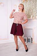 Молодежная юбка Арина бордовая