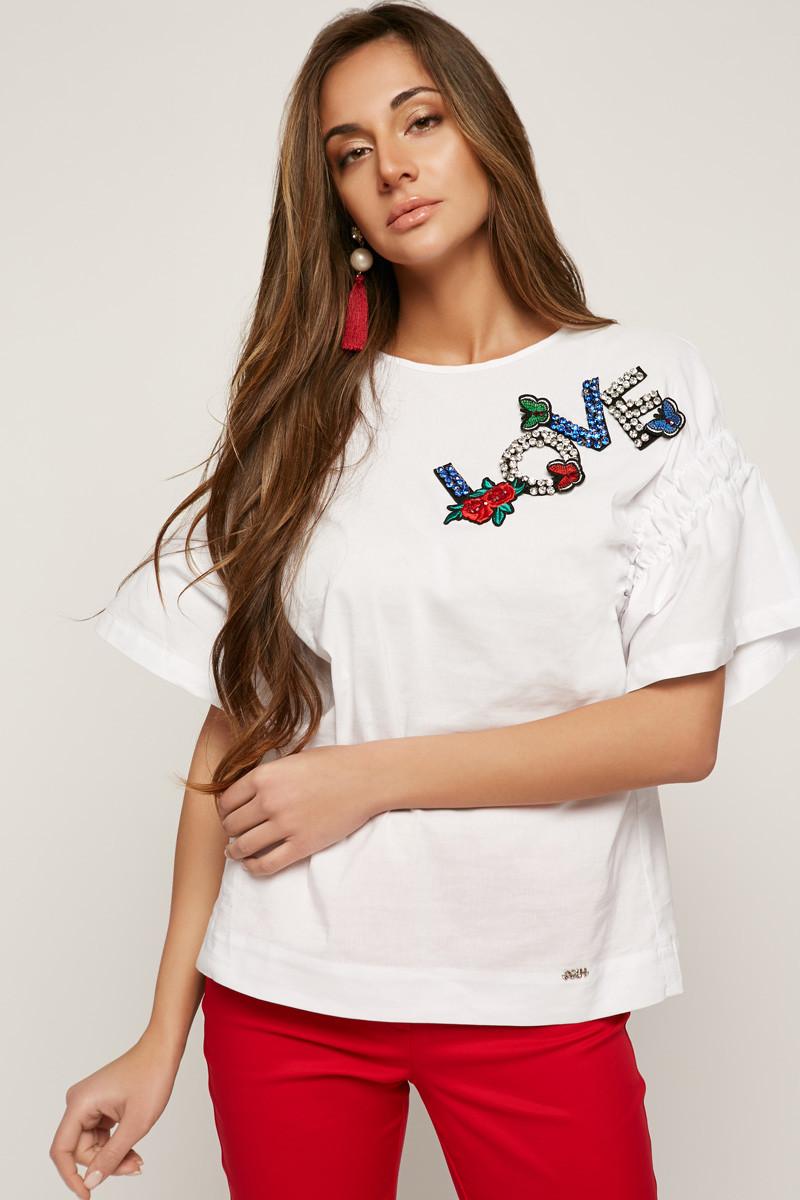 2159 блуза Love, белый (48-50)