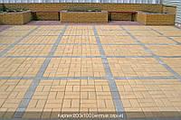 Тротуарная плитка Кирпич 200х100х40 - желтый, фото 1