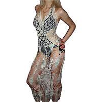 Вязаное крючком длинное платье с открытой спиной ручной работы цвета белый мелланж