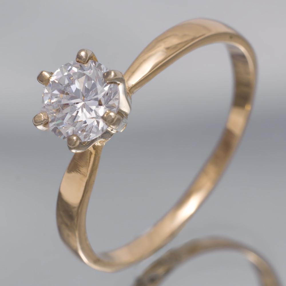 Золотое помолвочное кольцо с фианитами. КП1412