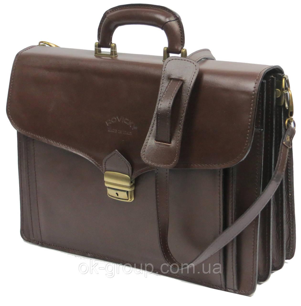 Портфель из натуральной кожи Rovicky AWR-6-2 темно-коричневый