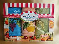 Набор кухонных полотенец с фруктовой вышишивкой Yagmur Tekstil 3шт. хлопок Турция