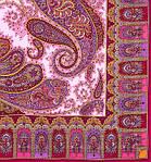 """Платок павлопосадский шерстяной с шелковой бахромой """"Фаворит"""", 125х125 см, рис 1344-6, фото 2"""