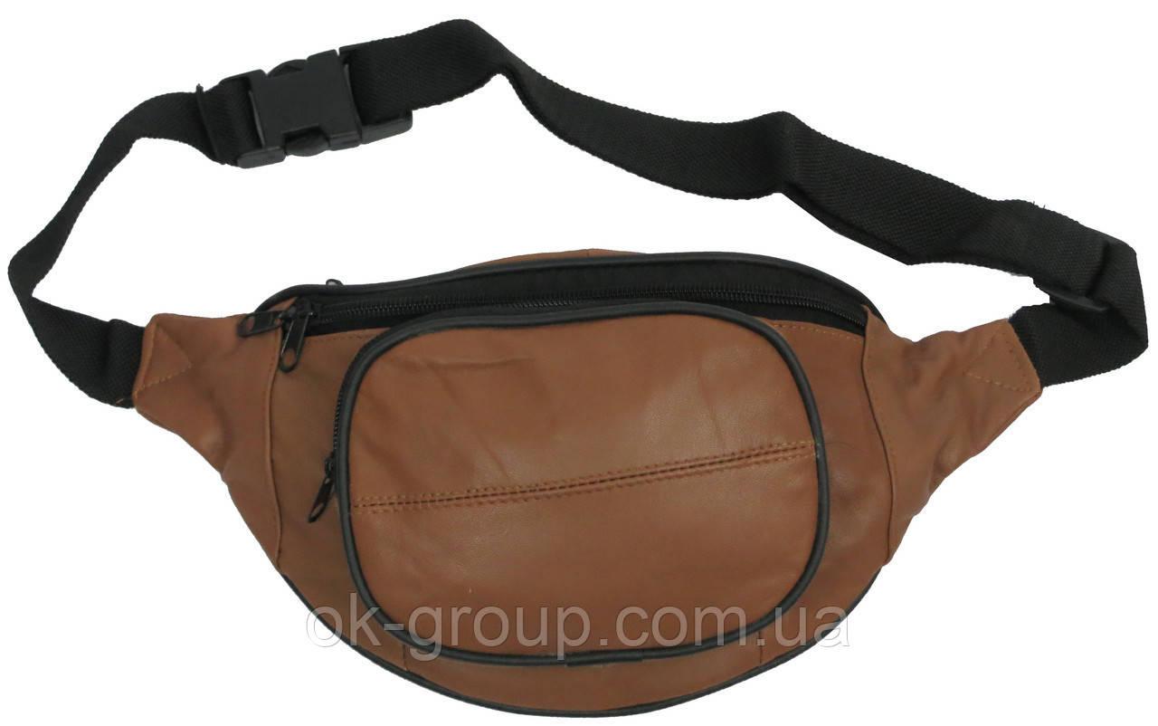 Кожаная поясная сумка, бананка Cavaldi 903-353 cognac, коричневая