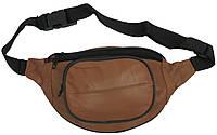 Кожаная поясная сумка, бананка Cavaldi 903-353 cognac, коричневая, фото 1