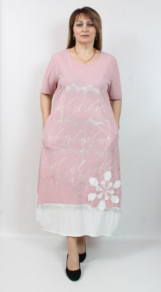 Турецкое летнее длинное женское платье, размеры 52-62