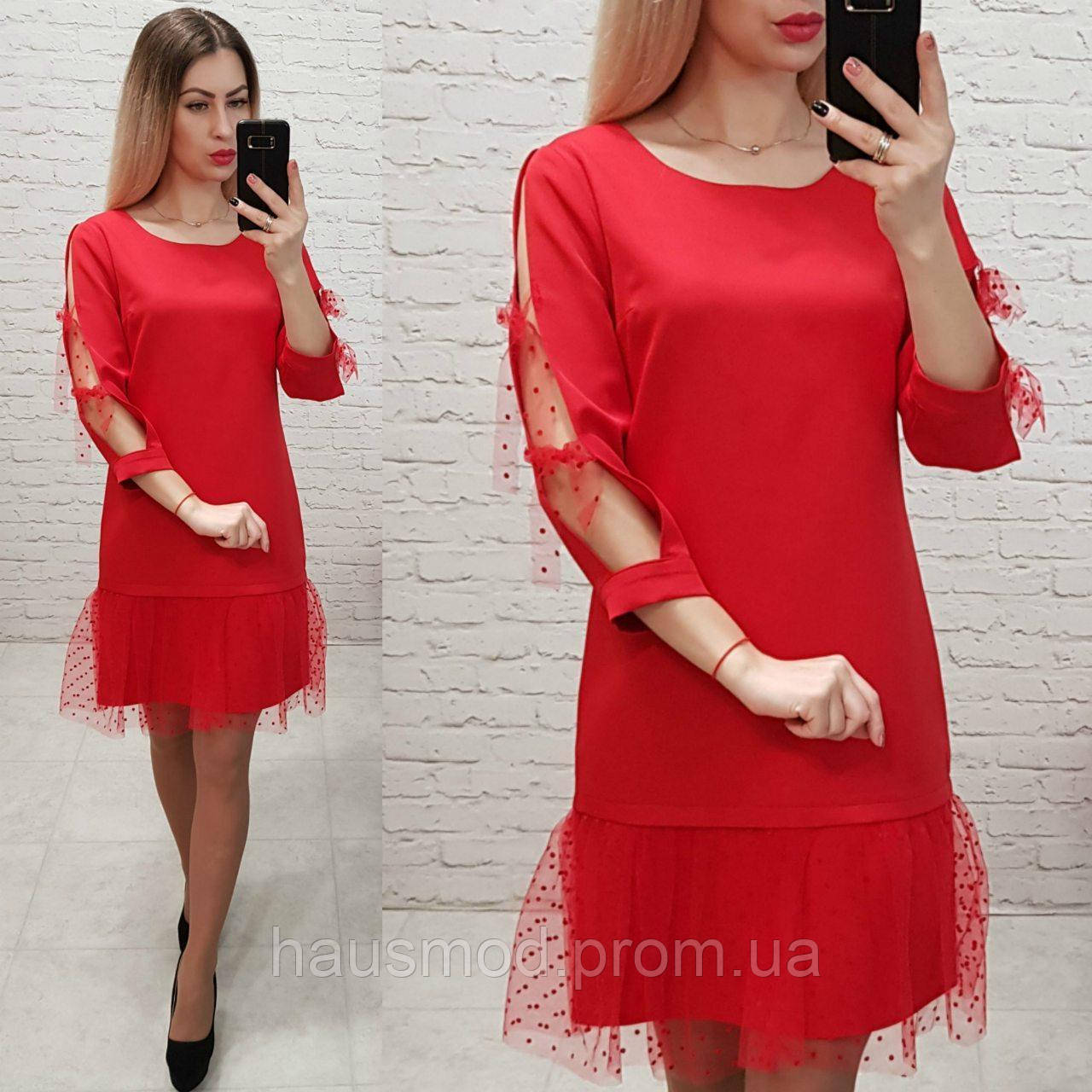 Женское платье фатин бант креп костюмка фатин цвет красный