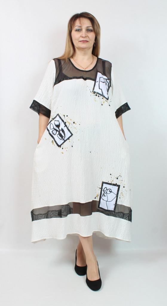 Турецкое летнее длинное женское платье белого цвета, размеры 52-64