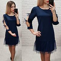 Женское платье фатин бант креп костюмка фатин цвет темно-синий, фото 1