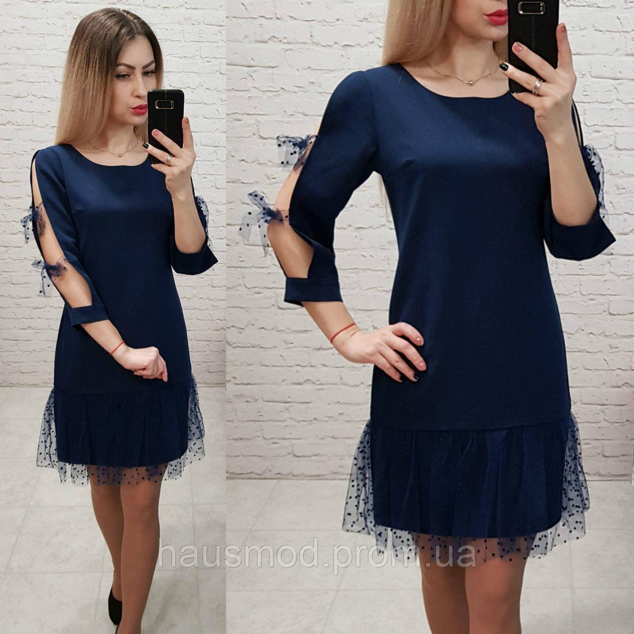 Женское платье фатин бант креп костюмка фатин цвет темно-синий