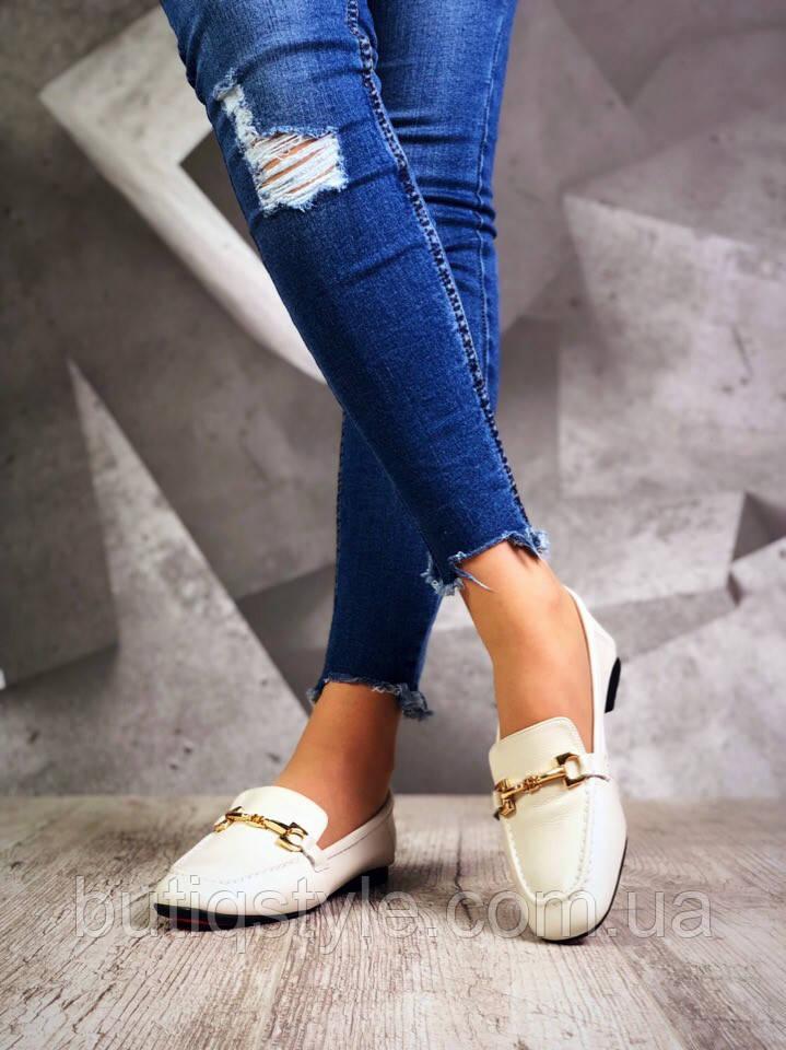36, 37, 41 размер Женские туфли-лоферы Italiano бежевые натур кожа с пряжкой