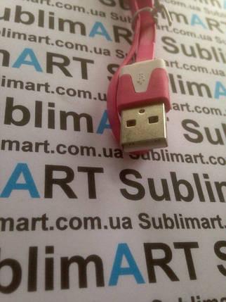 Usb кабель плоский 30 см для Samsung, Lenovo, HTC, и т. д. (малиновый), фото 2
