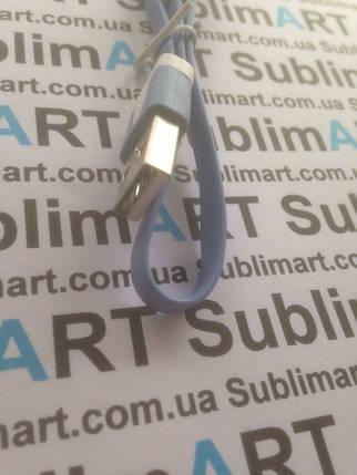 Usb кабель плоский 30 см для Samsung, Lenovo, HTC, и т. д. (голубой), фото 2