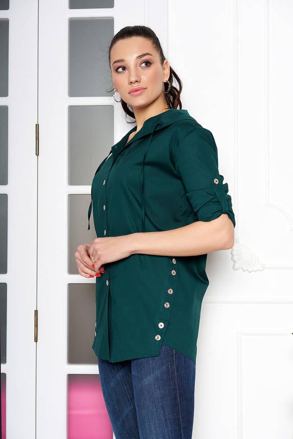 Женская рубашка стильная с капюшоном изумрудная, фото 2
