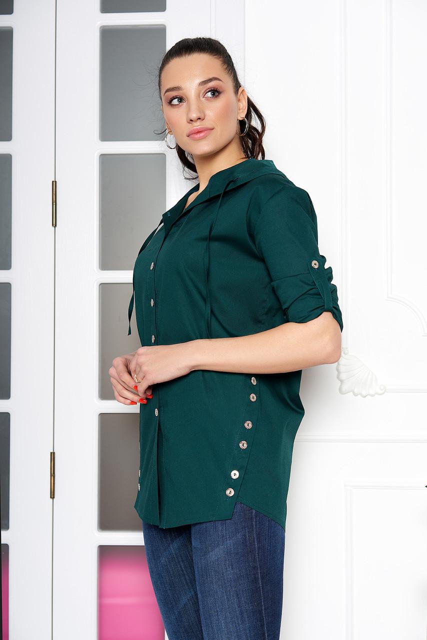 Женская рубашка стильная с капюшоном изумрудная