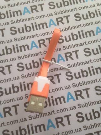 Usb кабель плоский 30 см для Samsung, Lenovo, HTC, и т. д. (оранжевый), фото 2