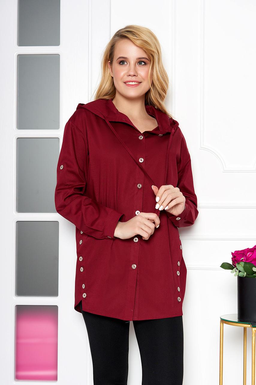 Женская рубашка модная с капюшоном бордовая