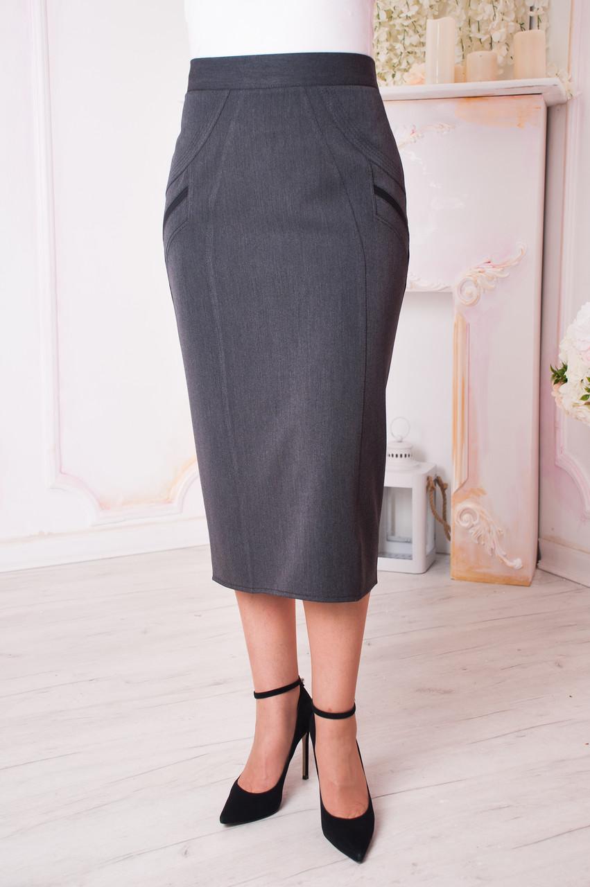 e58f0d18145 Женская юбка больших размеров Людмила темно серая  продажа