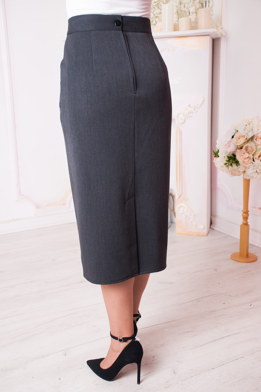 d01f09e6463 Женская юбка больших размеров Людмила темно серая