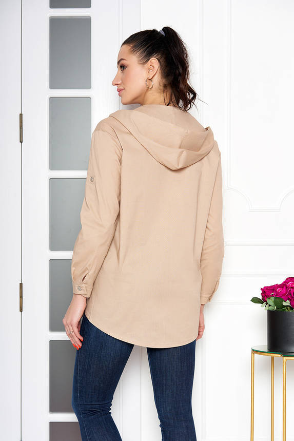 Женская рубашка модная с капюшоном бежевая, фото 2