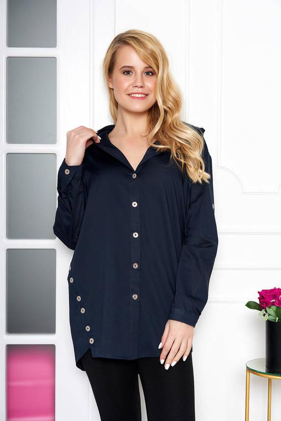Женская рубашка модная с капюшоном синяя, фото 2