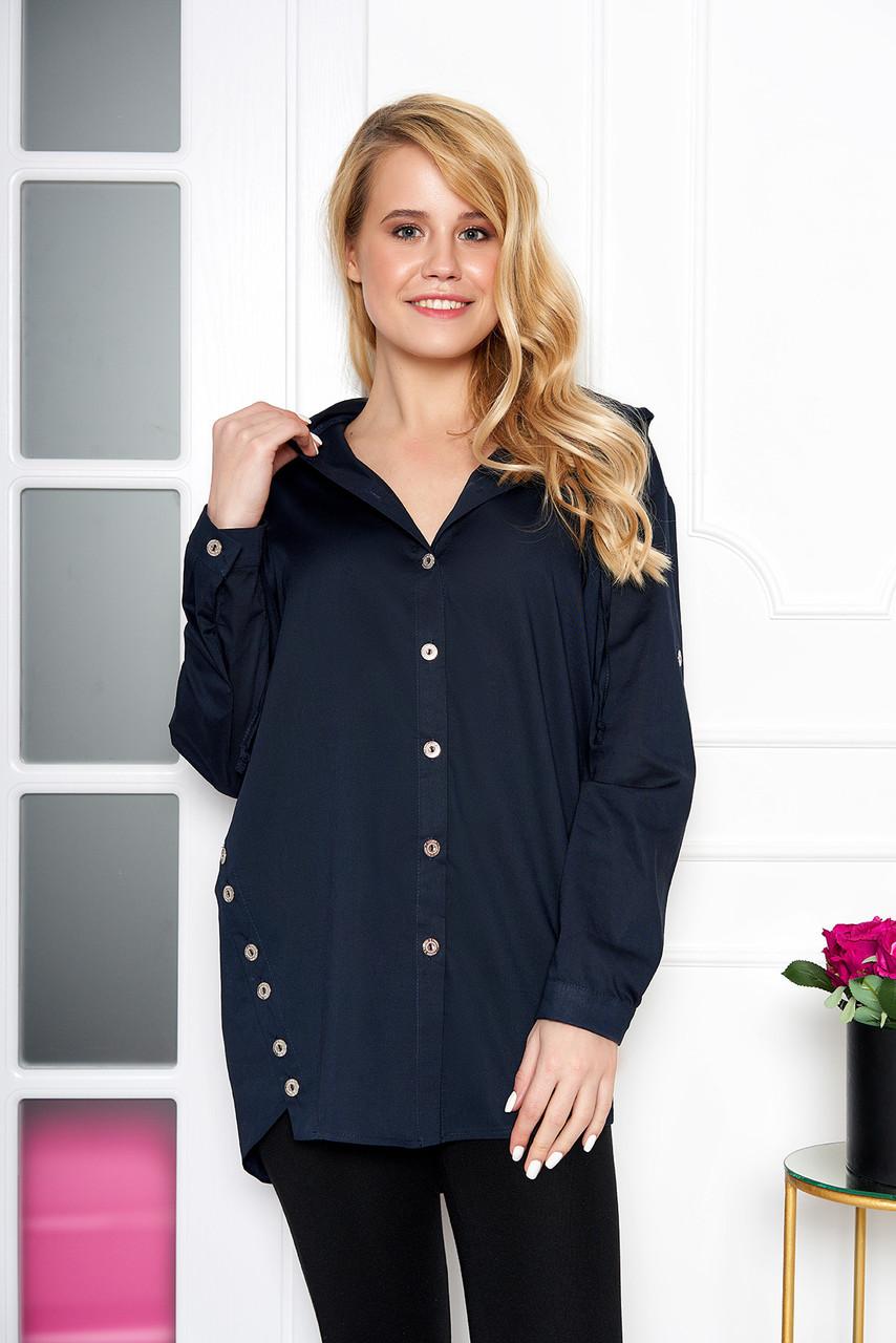 Женская рубашка модная с капюшоном синяя