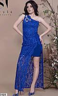 Платье вечернее ( выпускное ) гипюрное с шлейфом с разрезом на ноге длинное макси в пол Цвет : Электрик Размер : 42 44 46 Материал : Гипюр , масло