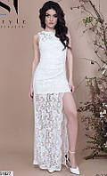 Платье вечернее ( выпускное ) гипюрное с шлейфом с разрезом на ноге длинное макси в пол Цвет : Молоко Белый Размер : 42 44 46 Материал : Гипюр , масло