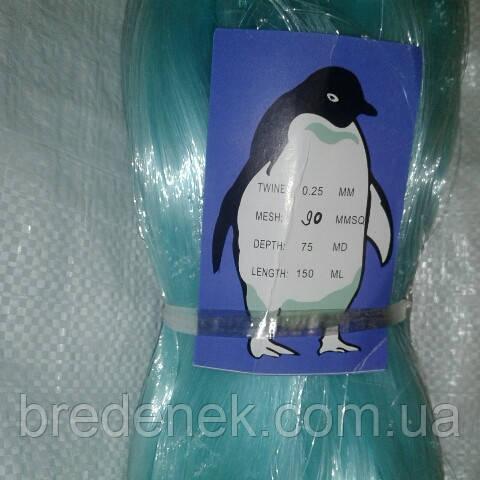 Сетевое полотно Пингвин леска высота 75 ячей длинна 150 м размер ячейки 90 мм,100 мм, 110 мм толщина 0.25 мм