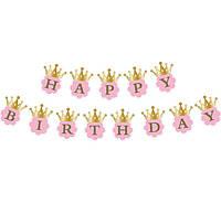 Гирлянда  Happy birthday на розовом фоне 1,8 м лицензионная
