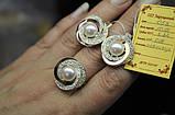 Серебряный набор украшений 058 серьги и кольцо, фото 2