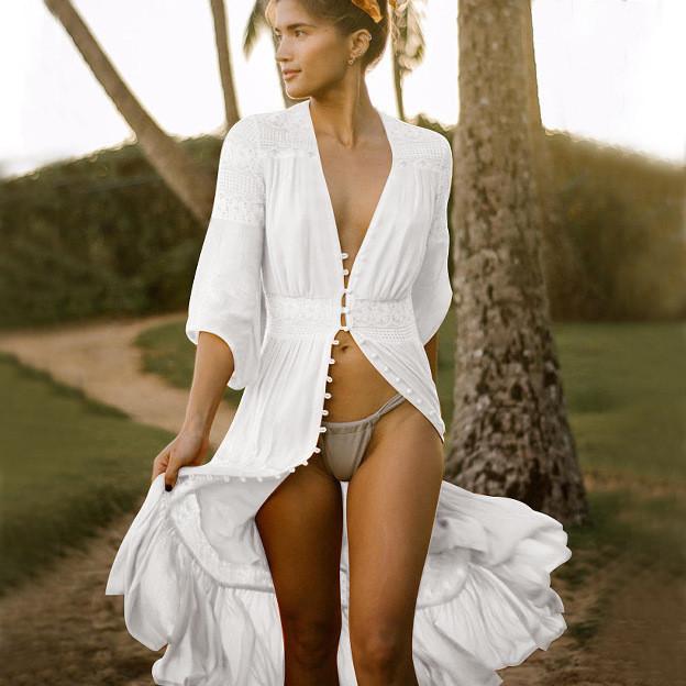 Накидка пляжная белая с кружевами на пуговичках