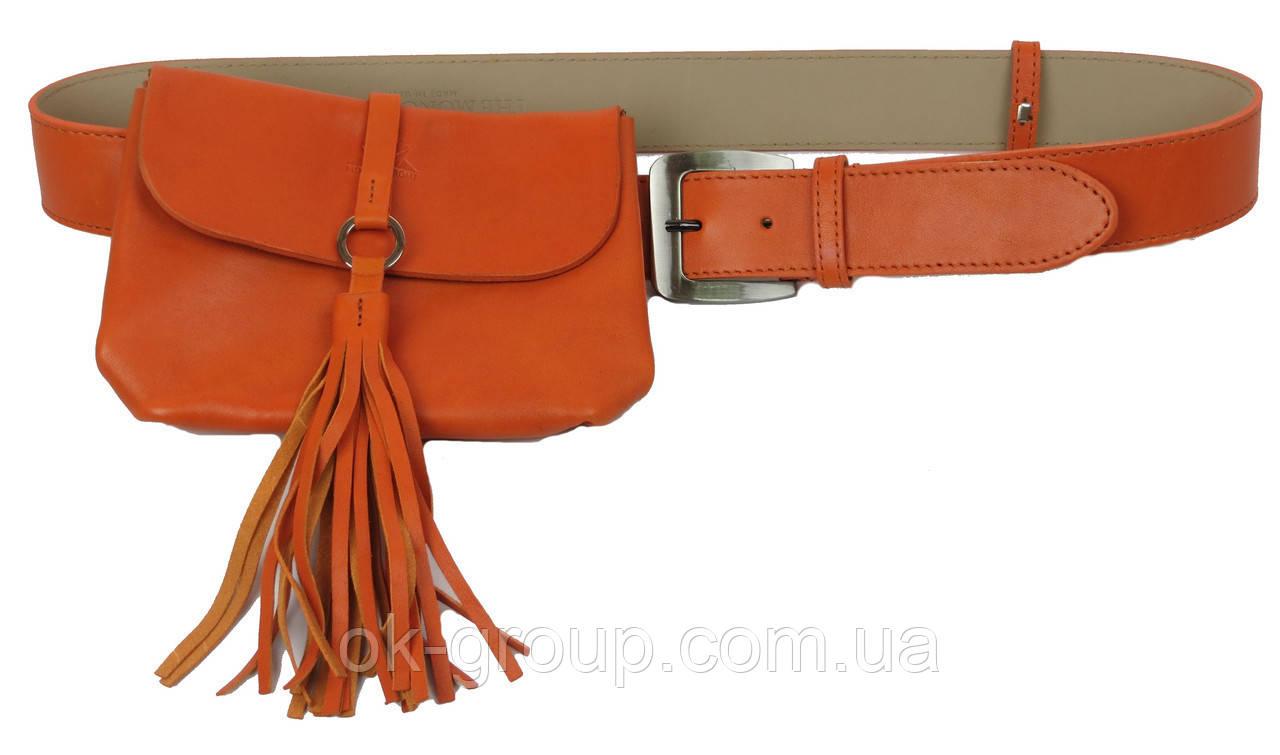 Сумка на пояс+ремень кожаные Monochrome 74688 оранжевый